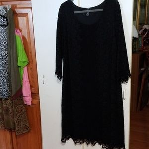 Lace Shift Dress SOFT Lined Open 3/4 Sleeve 1X
